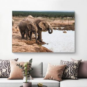 African Elephant Family Waterfront Photography Canvas